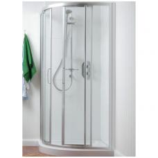 Dušo kabina IDEAL STANDARD Tipica 90x90 cm, pusapvalė, profilis chromas, stiklas skaidrus