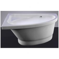 Akmens masės vonia VISPOOL MIA 140x90 dešinės pusės balta