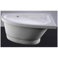 Akmens masės vonia VISPOOL MIA 140x90 kairės pusės balta