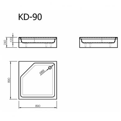 Akmens masės kvadratinis dušo padėklas VISPOOL KD-90 2