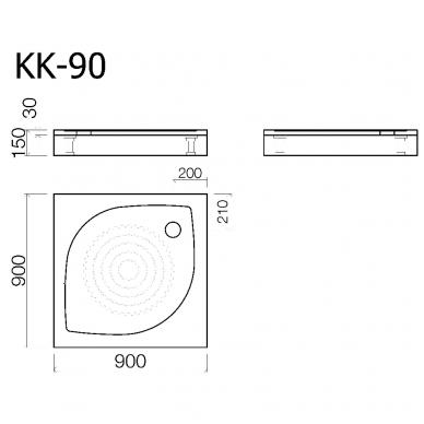 Akmens masės kvadratinis dušo padėklas VISPOOL KK-90 2