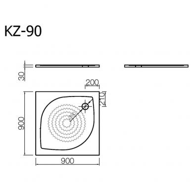 Akmens masės kvadratinis dušo padėklas VISPOOL KZ-90 2