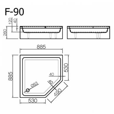 Akmens masės penkiakampis dušo padėklas VISPOOL F-90 2