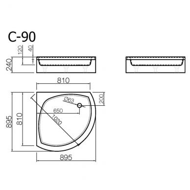 Akmens masės pusapvalis dušo padėklas VISPOOL C-90 (r550) 2