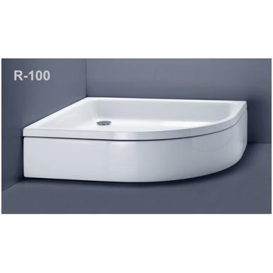 Akmens masės pusapvalis dušo padėklas VISPOOL R-100 su apdaila (r550) 2