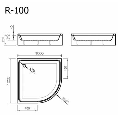 Akmens masės pusapvalis dušo padėklas VISPOOL R-100 su apdaila (r550) 3