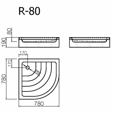 Akmens masės pusapvalis dušo padėklas VISPOOL R-80 (r500) 2