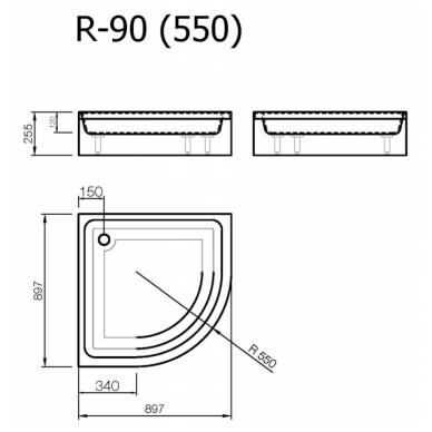Akmens masės pusapvalis dušo padėklas VISPOOL R-90 (r550) 2