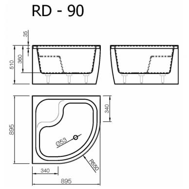 Akmens masės pusapvalis dušo padėklas VISPOOL RD-90 gilus (r550) 2