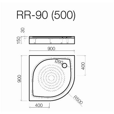 Akmens masės pusapvalis dušo padėklas VISPOOL RR-90 (r500) 2