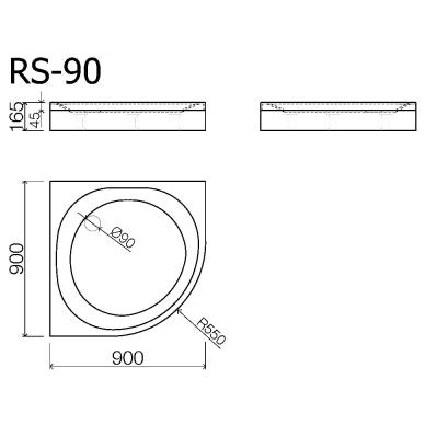 Akmens masės pusapvalis dušo padėklas VISPOOL RS-90 (r550) 2