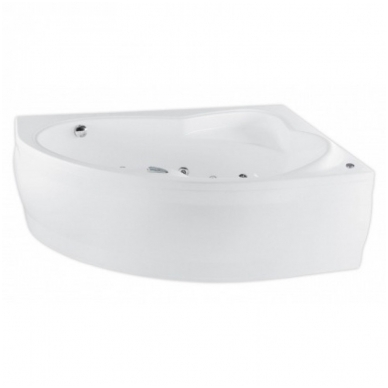 Akrilinė asimetrinė vonia EUROPA 165x105cm su rėmu,masažo sistema SILVER 2 NAVI, dešininė, balta