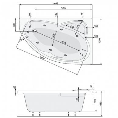 Akrilinė asimetrinė vonia EUROPA 165x105cm su rėmu,masažo sistema SILVER 2 NAVI, dešininė, balta 2
