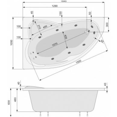 Akrilinė asimetrinė vonia EUROPA 165x105cm su rėmu,masažo sistema SILVER 2 NAVI ,kairinė,balta 2