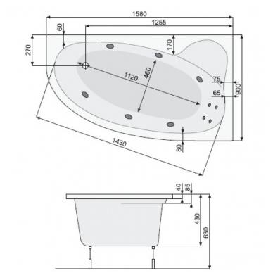 Akrilinė asimetrinė vonia NIMFA 160x90cm su rėmu,masažo sistema SILVER 2 NAVI, dešininė, balta 2