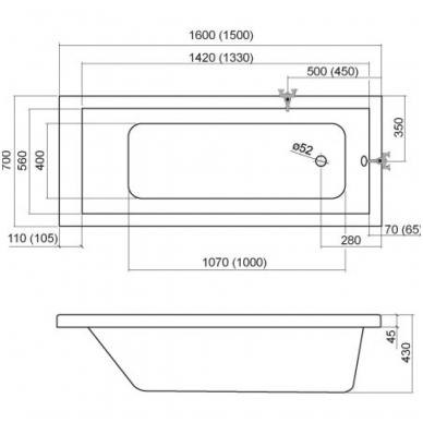 Akrilinė vonia Kubic 1600 x 700 mm, balta 2