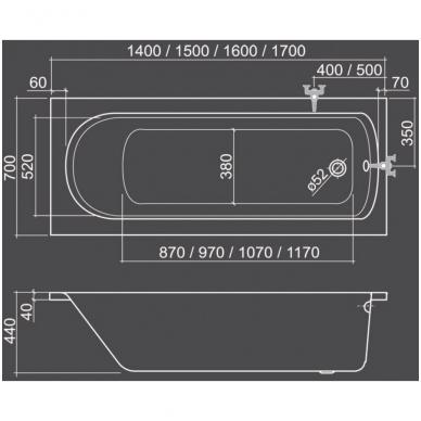 Akrilinė vonia VANESSA NEO 1700x700, balta 2