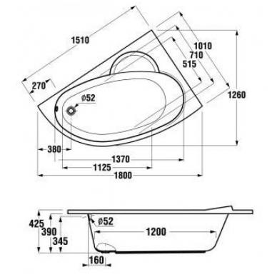 Asimetrinė OLYMP vonia 150 x 100 cm, dešinės pusės modelis, be kojelių, tūris 210 I 2