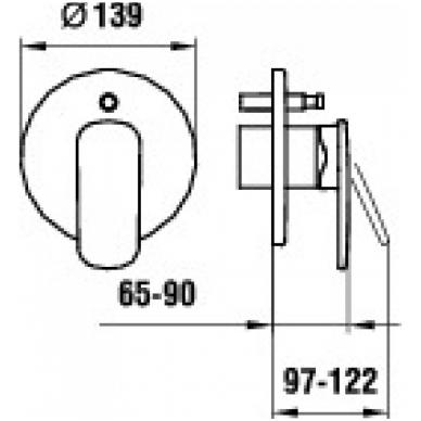 CITYPRIME Potinkinis vonios/dušo maišytuvas, su perjungėju, chromas 2