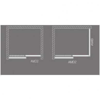 Dušo durys AMD2 1200/2000 Brillant/Transparent 2