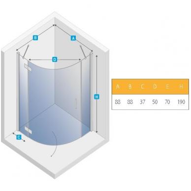 Dušo kabina NEW TRENDY MERANA 90 kairinė, skaidrus stiklas 2
