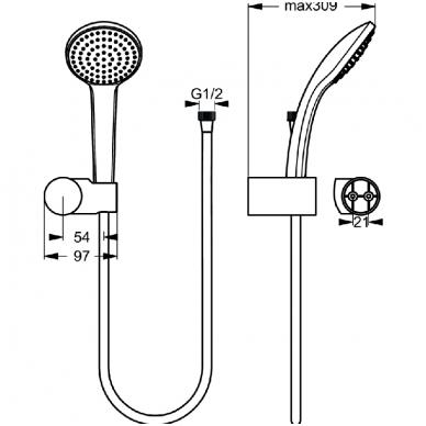 Dušo komplektas IDEAL STANDARD IdealRain M1, galvutė 100 mm 5