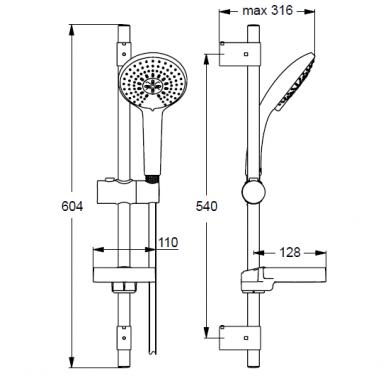 Dušo stovas IDEAL STANDARD IdealRain L3, 600 mm, galvutė 120 mm 5