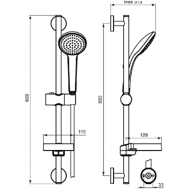 Dušo stovas IDEAL STANDARD IdealRain M1, 600 mm, galvutė 100 mm 5