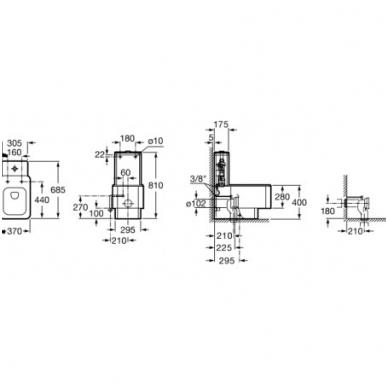 ELEMENT Kombinuoto unitazo puodas, status nubėgimas, universalus nuotakas Vario, su montavimo rinkiniu 2
