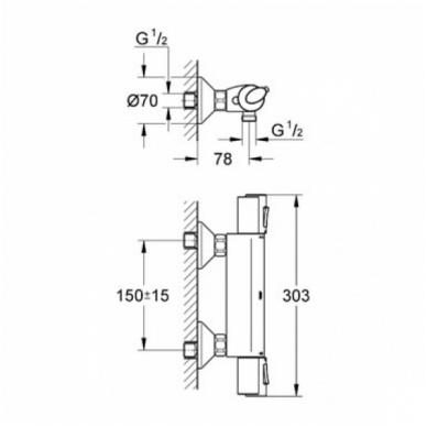 Grohtherm 1000+ termostatinis maišytuvas dušui 2