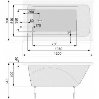 KLIO akrilinė vonia 120x70 su kojelėm, balta 2