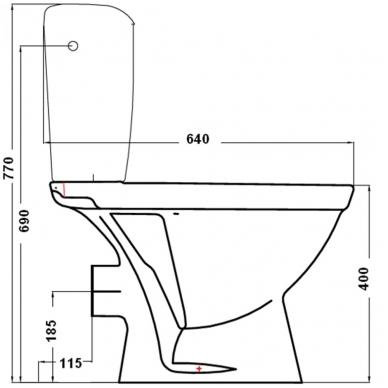 Kombinuotas WC NORMA su termoplastiko dangčiu, horizontalus, 3/6 ltr, vand. įvad. iš šono, baltas 2
