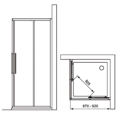 Komplektas iš dviejų dušo sienelių IDEAL STANDARD Kubo 90 cm, profilis chromas, stiklas skaidrus 2