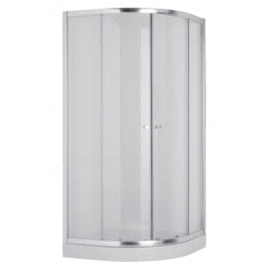 MIO dušo kabina 90x90x185 cm, pusapvalė, 550 mm spindulys, poliruoto aliuminio profilis, 6 mm skaidrus stiklas