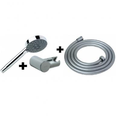 MIO dušo komplektas (rankinis dušas ø 100 mm, 1 funkcija, laikiklis, 1,7m. dušo žarna), chromuotas