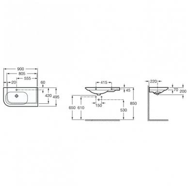 NEXO Asimetriškas praustuvas, 90 × 49,5 cm, plokštuma dešinėje 2