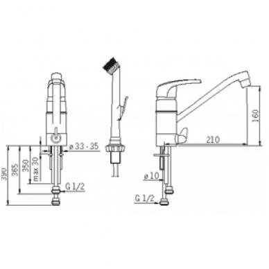 Plautuvės maišytuvas Oras Safira su šepečiu ir indaplovės ventiliu 2