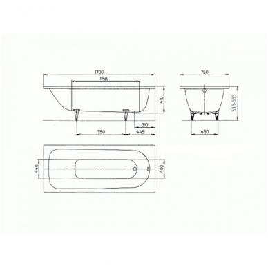 Plieninė vonia Saniform Plus 170x75x41; mod. 373-1 2