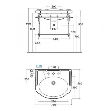 Praustuvas GLOBO PAESTUM 71x57 su metaliniu rėmu 3