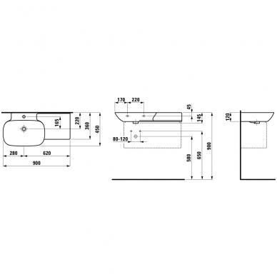 Praustuvas INO 900x450 mm su lentyna dešinėje, 1 skyle maišyt., Saphir Keramik,baltas 2