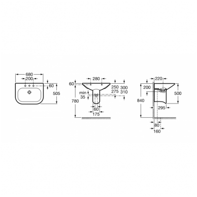 Praustuvas NEXO 68 × 50.5 cm, su montavimo rinkiniu, maxi clean padengimu, baltas 2