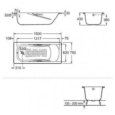 PRINCESS-N plieninė vonia 150x75 cm. su ranktūriais (7.5268.0.431.0) ir antislip danga , balta 2