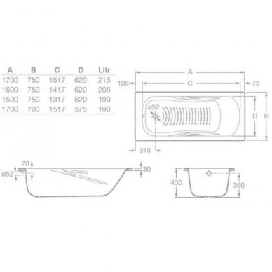 PRINCESS-N Plieninė vonia 170 × 70 cm su chrom. rank., antislip 2