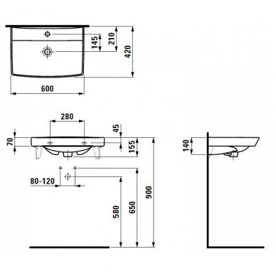 PRO NORDIC praustuvas 60x42 cm, su 1 anga maišytuvui viduryje, su LCC, baltas 2