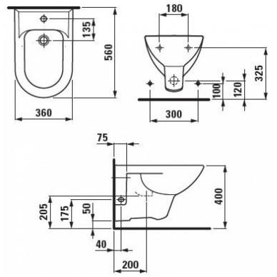 PRO Pakabinama bidė, su 1 anga maišytuvui, be šoninių angų vandens įvadui kairėje ir dešinėje 2