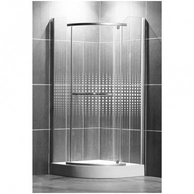 Pusapvalė dušo kabina AUSTIN 800/1950 R550, sidabras/su piešiniu
