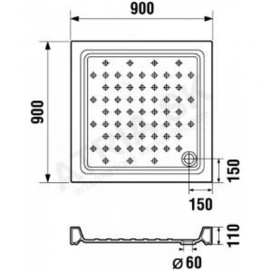 RAVENNA keraminis dušo padėklas 90x90x11 cm, kvadratinis, baltas 2