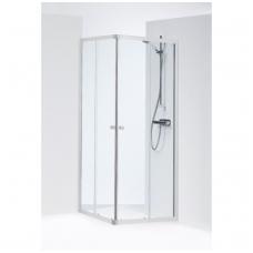 SILVER kvadratinė dušo kabina 80x80x190 cm, poliruoto aliuminio profilis, skaidrus 4mm stiklas