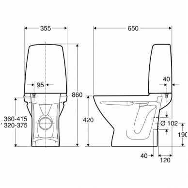 SIGN kombinuotas unitazas, horizontalus, 2/4 ltr. Fresh WC funkcija 2