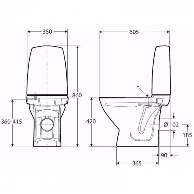 SIGN kombinuotas unitazas, horizontalus, siauras bakelis, 2/4 ltr. Fresh WC funkcija, klijuojamas 2